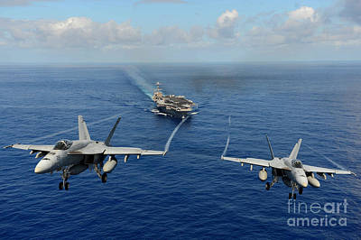 Aircraft Carrier Painting - wo F A-18E Super Hornets by Celestial Images