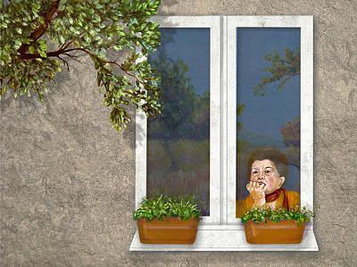 Digital Art - Woman In Window by Dorothy Riley