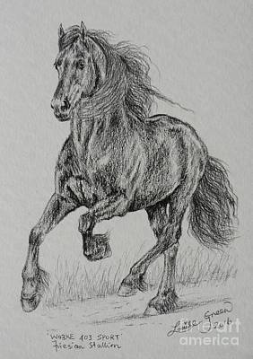 Drawing - Wobke 403 Sport Friesian by Louise Green
