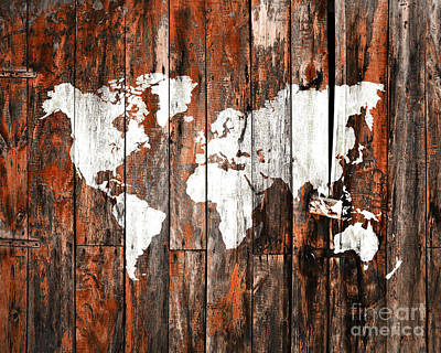 Creation Photograph - World Map On An Old Door 8x10 by Delphimages Photo Creations