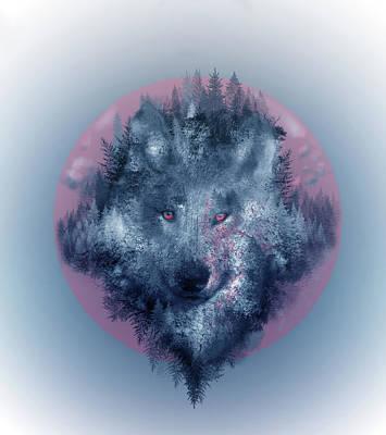 Abstract Nature Digital Art - Wolf 2 by Bekim Art