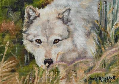 Painting - Wolf Among Foxtails by Lori Brackett