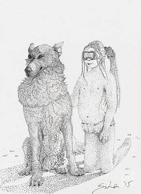 Animals Drawings - Wolf and a Child by Lidija Ivanek - SiLa