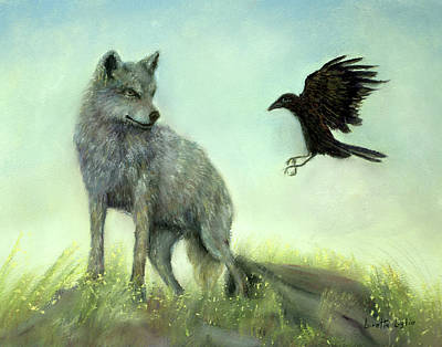 Pastel - Wolf And Crow by Loretta Luglio
