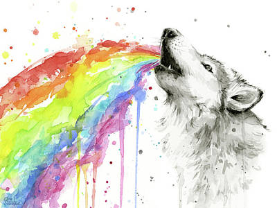 Wolf Watercolor Painting - Wolf And Rainbow  by Olga Shvartsur