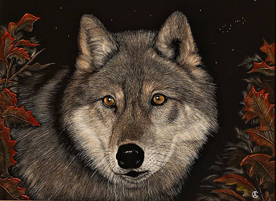Painting - Wolf by Angie Cockle