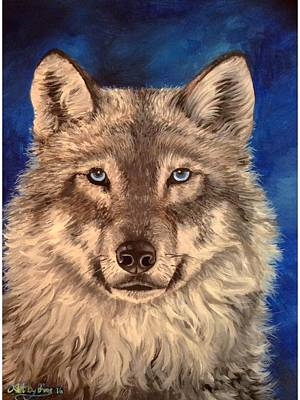 Painting - Wolf by Art By Three Sarah Rebekah Rachel White