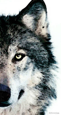Gray Painting - Wolf Art - Timber by Sharon Cummings