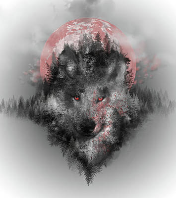 Monochromatic Digital Art - Wolf by Bekim Art