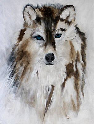 Painting - Wolf - Blue Star by Barbie Batson