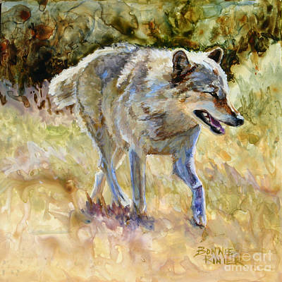 Art Print featuring the painting Wolf by Bonnie Rinier