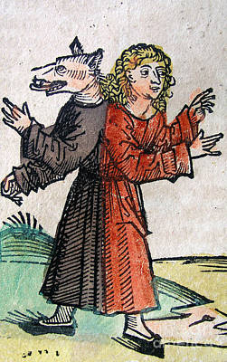 Loup Photograph - Wolf Boy, Nuremberg Chronicle, 1493 by Science Source