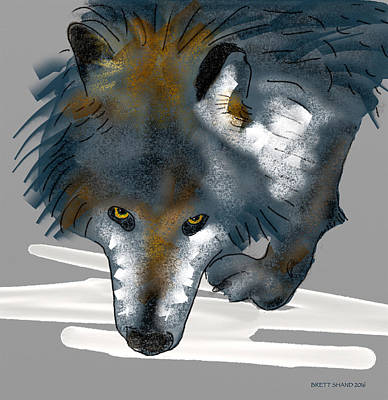 Digital Art - Wolf. by Brett Shand