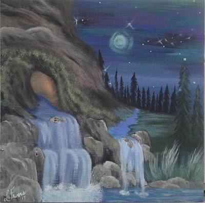 Bob Ross Style Painting - Wolf Cave  by Lori Lafevers