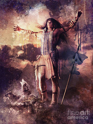 Landmarks Mixed Media - Wolf Clan Warrior by Shanina Conway