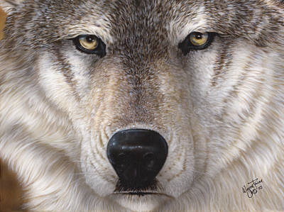 Dakota Painting - Wolf Closeup by Wayne Pruse