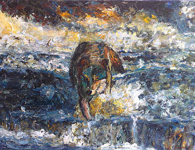 Art Print featuring the painting Wolf Crossing The River by Koro Arandia