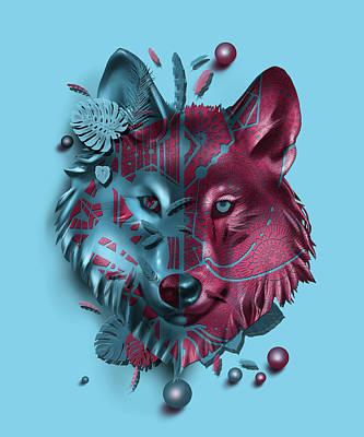 Animals Digital Art - Wolf Decor Blue by Bekim M