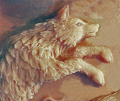 Sculpture - Wolf Detail From Bear Cub Bowl Original Clay by Dawn Senior-Trask