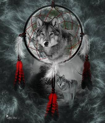 Digital Art - Wolf Dreamcatcher by Ali Oppy