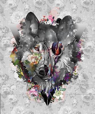 Animals Digital Art - Wolf Floral Decor by Bekim M