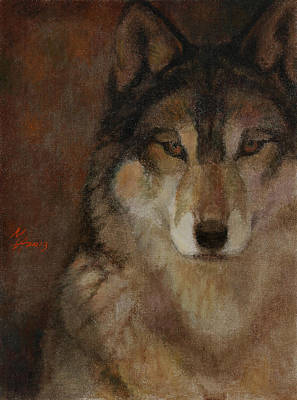 Painting - Wolf Head by Attila Meszlenyi