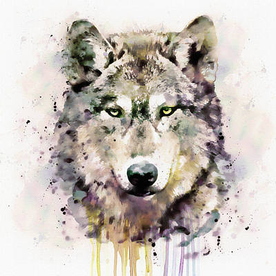 Watercolour Mixed Media - Wolf Head by Marian Voicu