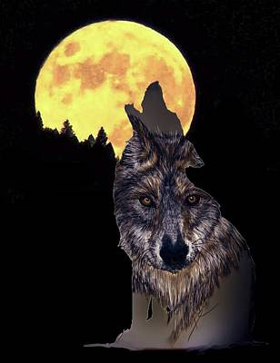 Digital Art - Wolf Howling At The Moon by Darren Cannell