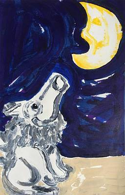 Painting - Wolf Howling At The Moon by Matthew Brzostoski