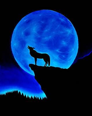 Wolf Howling  Art Print by Nicole  Cris