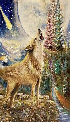 Painting - Wolf Howling Full Moon by Bernadette Krupa