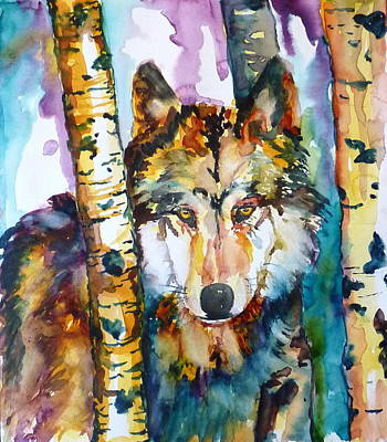 Wolf In Aspen Art Print by P Maure Bausch