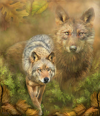 Autumn Art Mixed Media - Wolf In Autumn by Carol Cavalaris