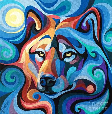 Painting - Wolf In Moon Shine by Christine Karron