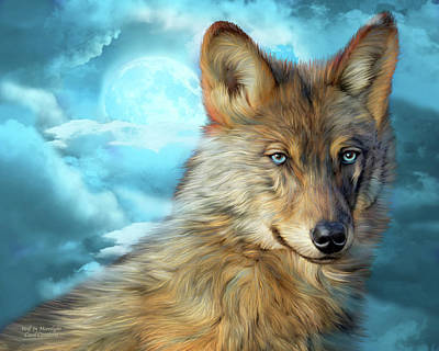 Mixed Media - Wolf In Moonlight 2 by Carol Cavalaris