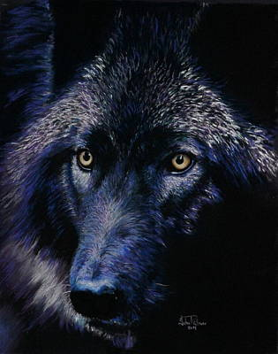 Gloom Painting - Wolf In Moonlight Version C by John  Palmer