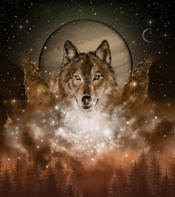 Painting - Wolf In Sepia by Bekim Art