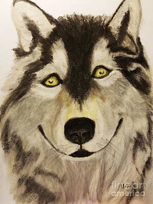 Pastel - Wolf In Soft Pastels by Maria Urso