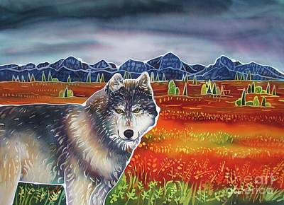 Yellowstone Painting - Wolf In The Autumn Tundra by Harriet PeckTaylor