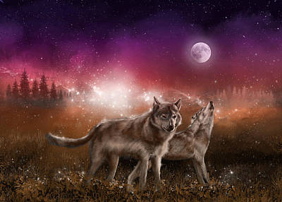 Wolf In The Moonlight Red Art Print
