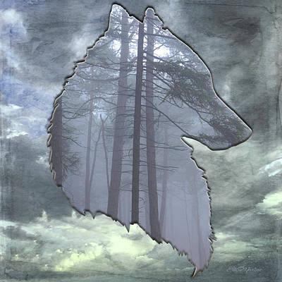 Digital Art - Wolf In The Sky by Ericamaxine Price