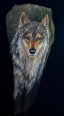Painting - Wolf In The Woods by Nancy Lauby
