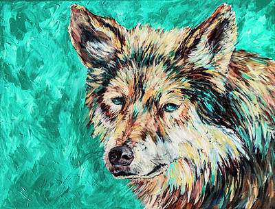 Painting - Wolf In Turquoise by Sally Quillin