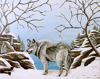 Art Print featuring the painting Wolf In Winter by Teresa Wing