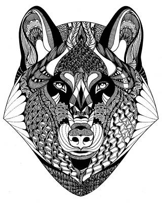 Drawing - Wolf by Jan Steinle