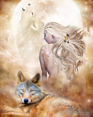 Mixed Media - Wolf Moon Goddess by Carol Cavalaris