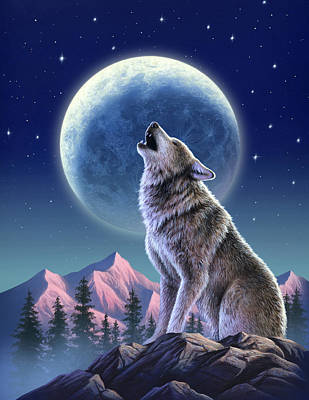 Moon Mixed Media - Wolf Moon by Jerry LoFaro