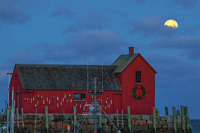 Photograph - Wolf Moon Over Massachusetts Rockport Harbor by Juergen Roth