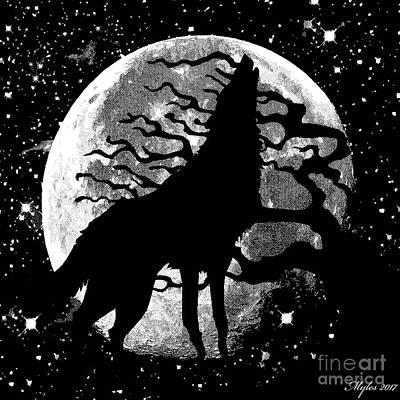 Painting - Wolf Moon Stars by Saundra Myles