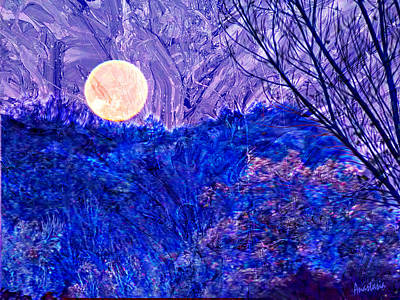 Digital Art - Wolf Moonset El Valle New Mexico II by Anastasia Savage Ealy